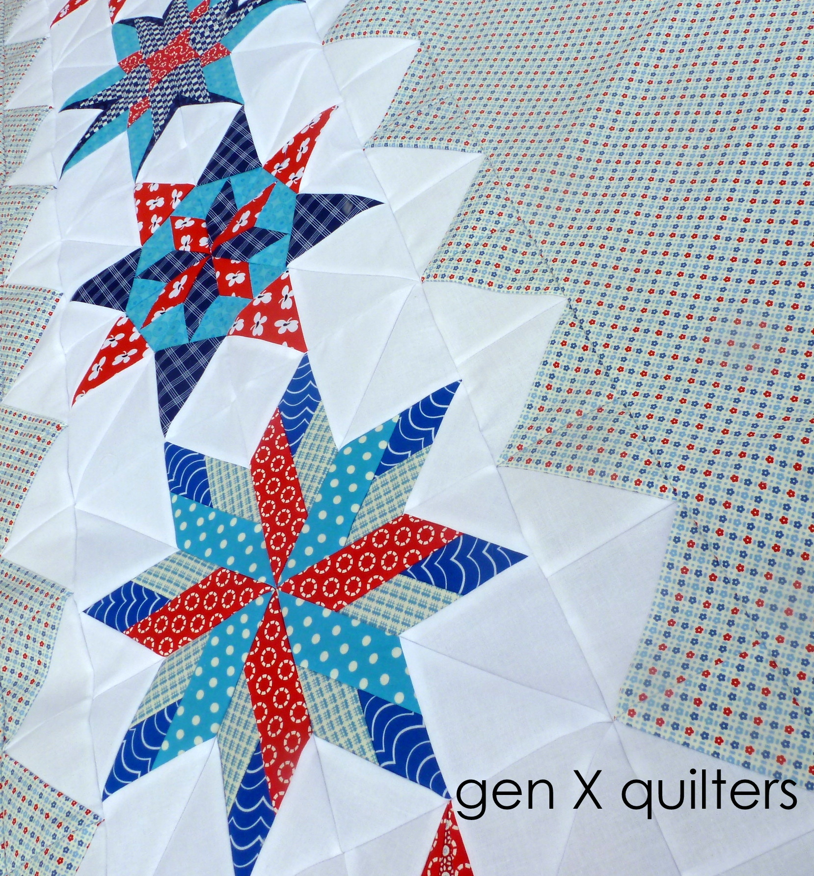red navy aqua quilt top partial