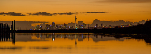 newzealand reflection water marina sunrise boats auckland skytower