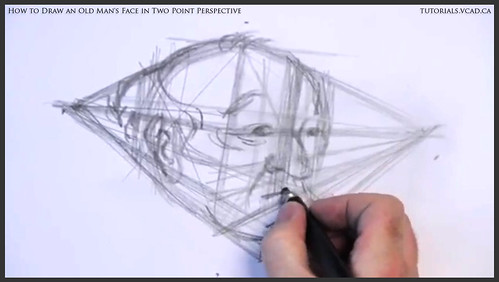 learn how to draw an old man's face in two point perspective 010