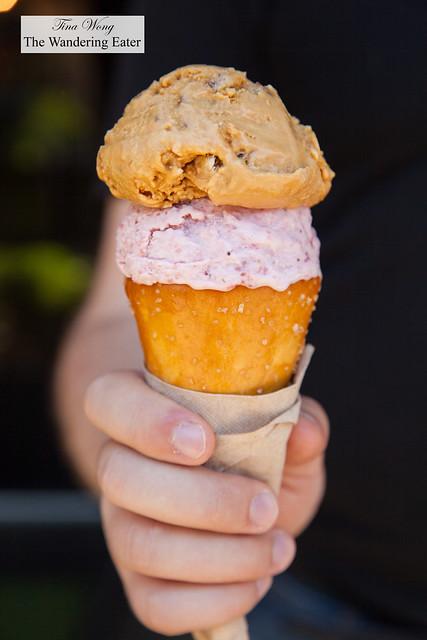 Stawberries & Cream and Salted Crack Caramel ice cream in pretzel cone