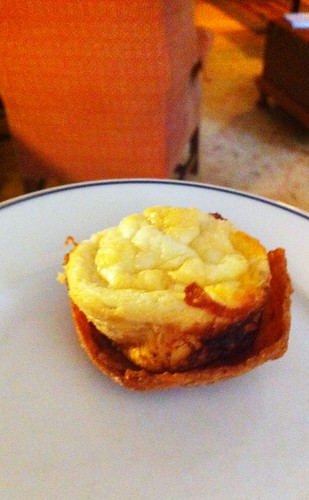 Emu egg frittata in a bacon cup