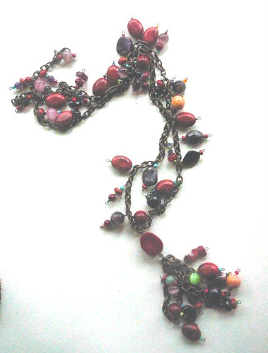 Corals, amethyst, cat's eye, howlyte necklace