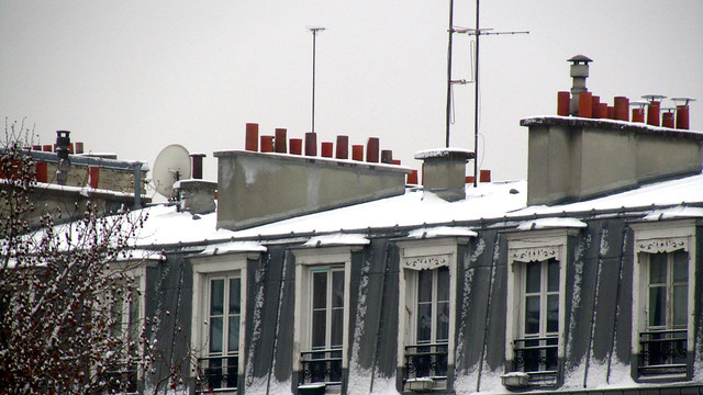 Snow-covered rooftop