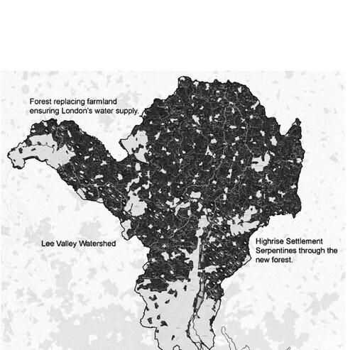 正常狀態下的地圖,顯示哈里森夫婦建 議,取消倫敦門戶計劃中的開發地區,改以里亞河谷為建立自給自足的聚落所在地,保護大倫敦區附近水源,同時避免泰晤士河沿岸的水患。