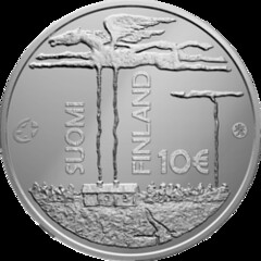 Finland 10 Euro coin on F.E. Sillanpää obv