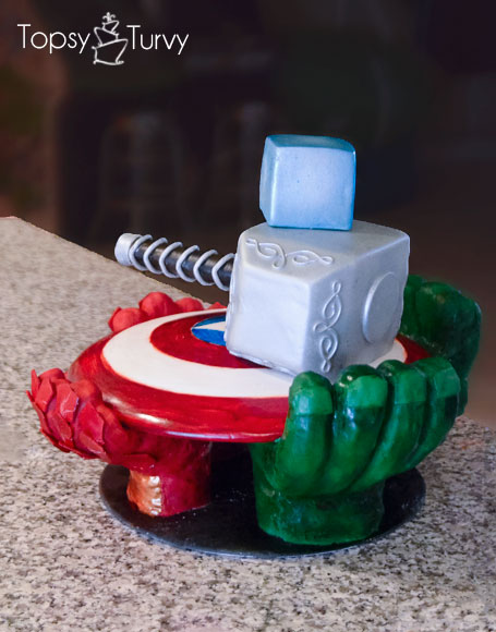 avengers-carved-birthday-cake-Tesseract-hammer-shield-hands-glove