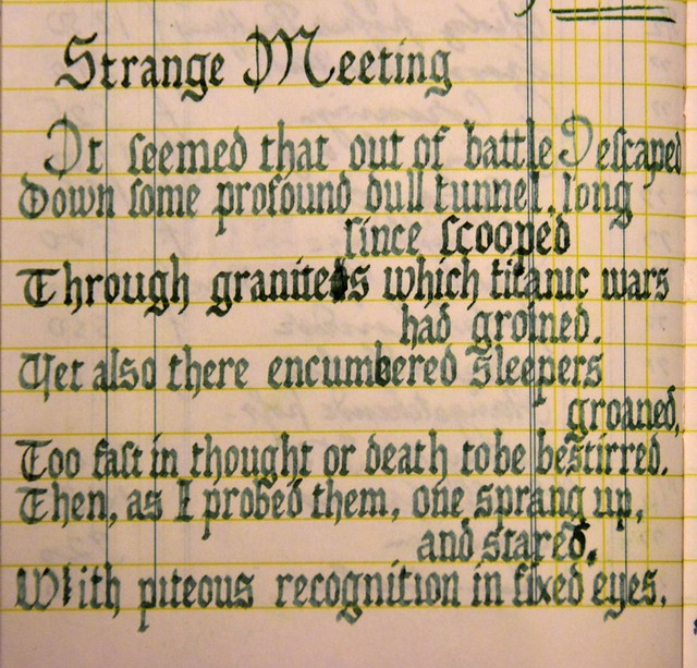 strange meeting Emptiness and loss in owen's strange meeting dead silence dead bodies dead smiles what could be a more fitting subject for poetry about war than death.
