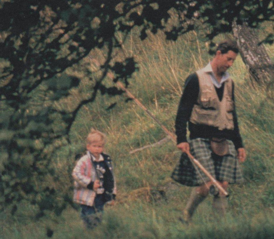 1987 Prince Charles and Prince Harry at Sandringham, circa 1987  1988.