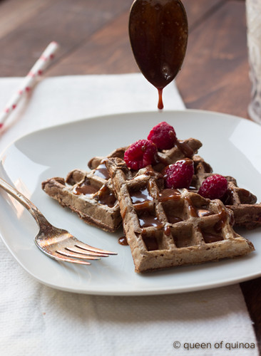 Chocolate Raspberry Waffles with a Chocolate-Peanut Butter Drizzle via Queen of Quinoa.jpg