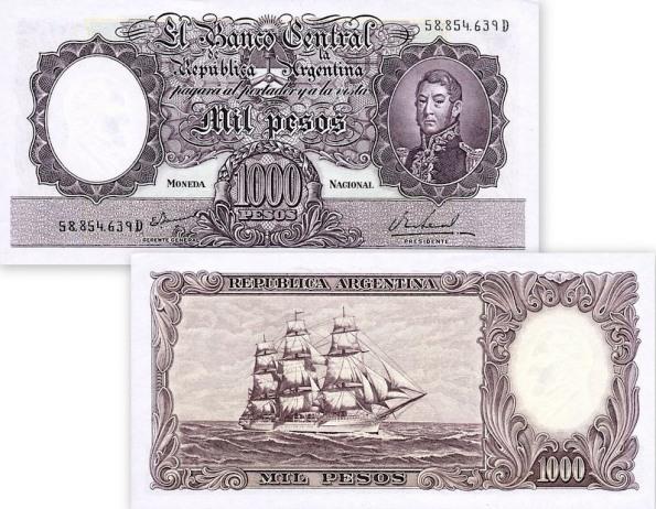 1000 Pesos Argentína 1966-69, pick 279