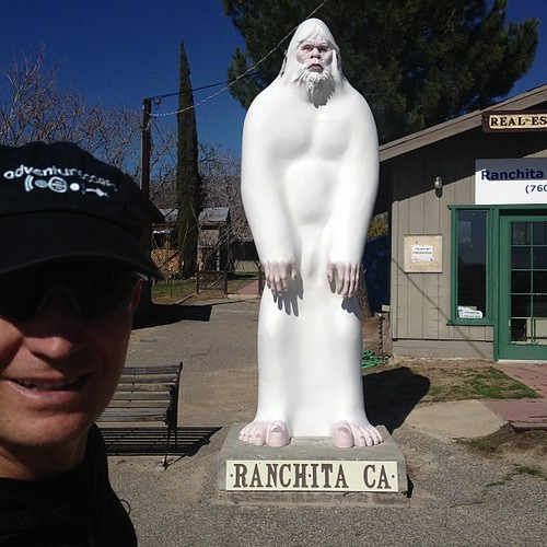 Mission accomplished: greeted officially by Rancheti, the 11 foot yeti of Ranchita. Mile 9.5. #stoked