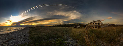 sunset sky panorama holiday canada beach home nova reeds surf contrail pebbles atlantic scotia halifax lawrencetown