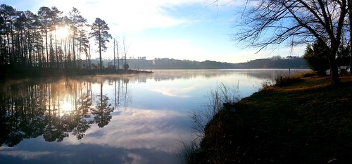 panorama sunrise reflections lakes northcarolina lakecrabtree