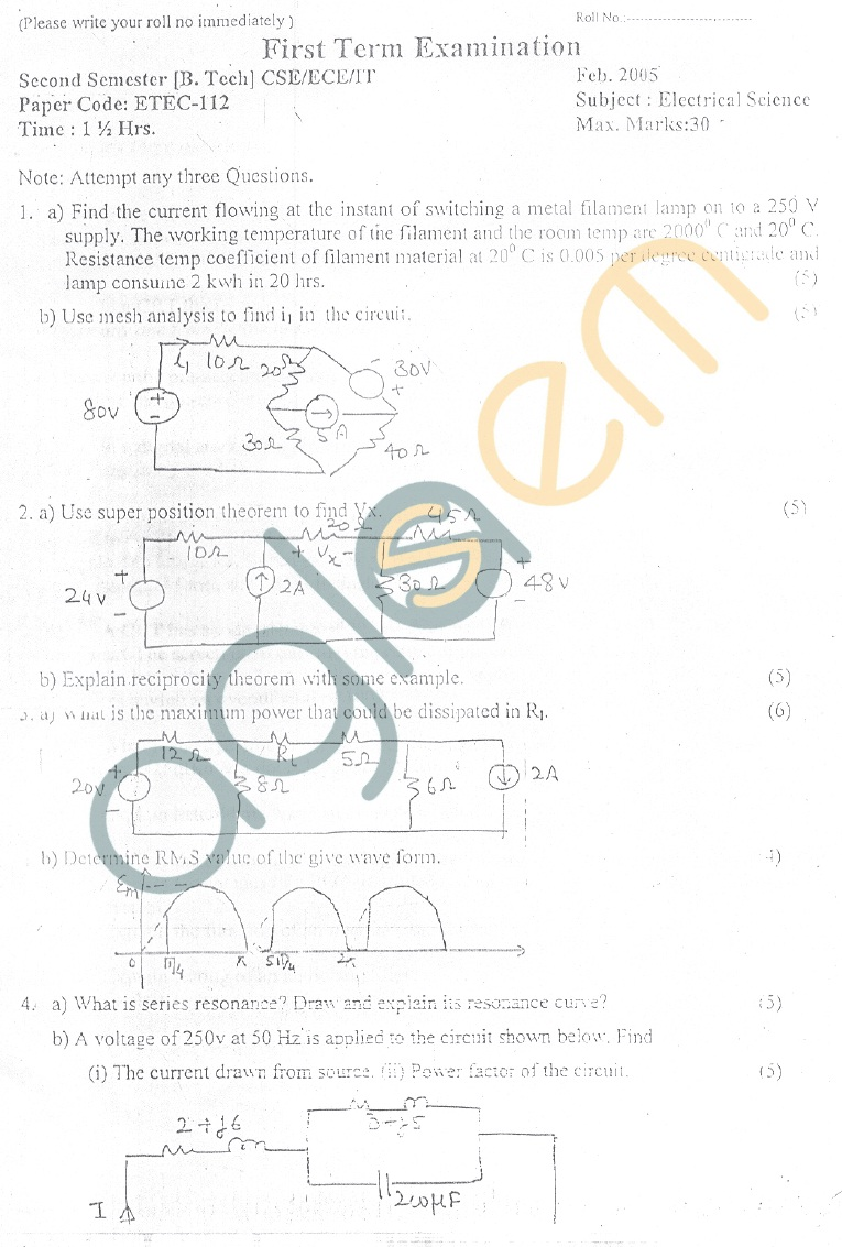 GGSIPU Question Papers Second Semester – First Term 2005 – ETEC-112