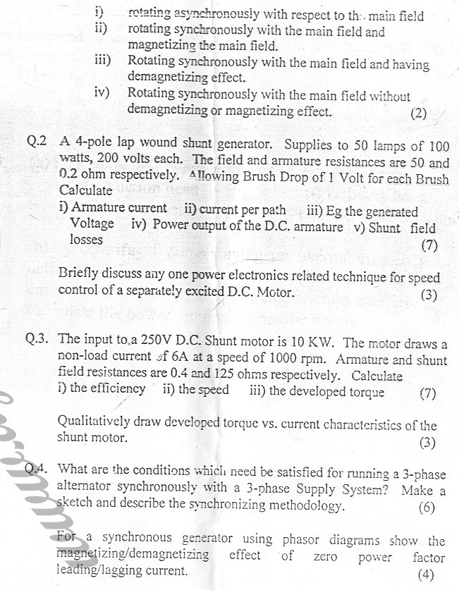 GGSIPU Question Papers Fourth Semester – First Term 2005 – ETEE-208