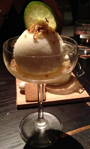 The Pelican - Pina Colada Sherbet with pineapple jam & toasted coconut