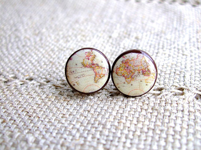 World Map Stud Earrings, $20 from bloomyjewelry on Etsy