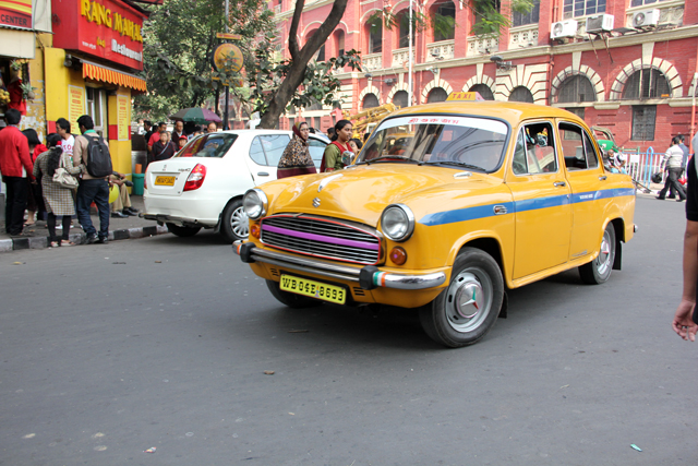 The omnipresent yellow taxi cabs of Kolkata