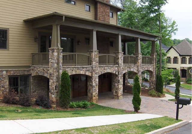 Custom stone porch arch flickr photo sharing for Stone porches photos