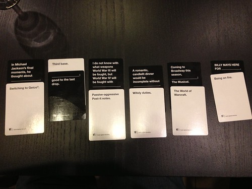 My winning Cards Against Humanity cards @cah