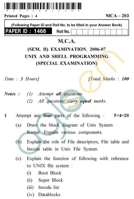 UPTU MCA Question Papers - MCA-203 - Unix And Shell Programming (Special Examination)