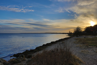 Image of Peder Mads Strand near Humlebæk. winter sunset beach denmark evening humlebæk hdr øresund lp6728