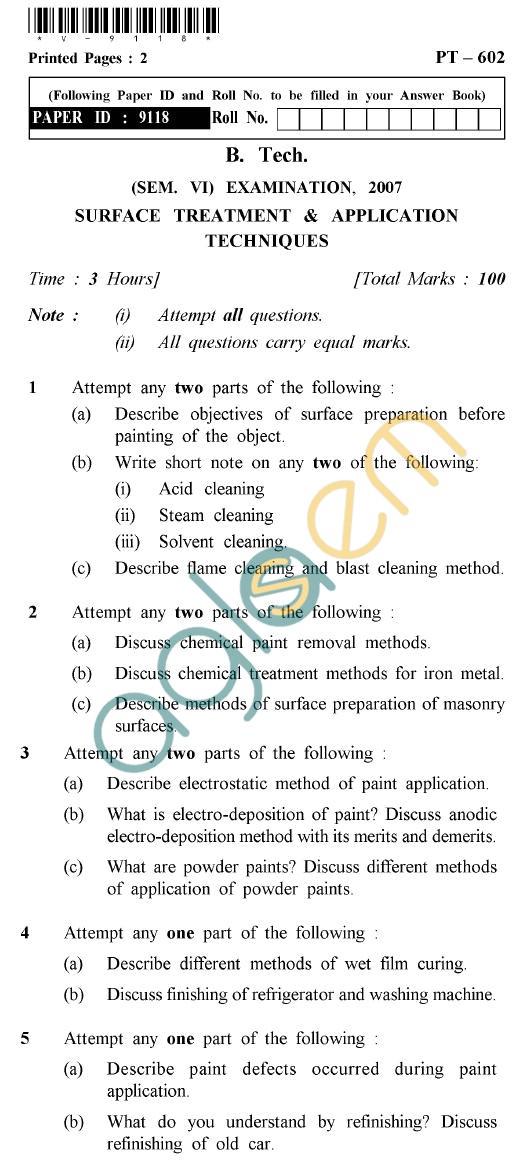 UPTU B.Tech Question Papers -PT-602 - Surface Treatment & Application Techniques