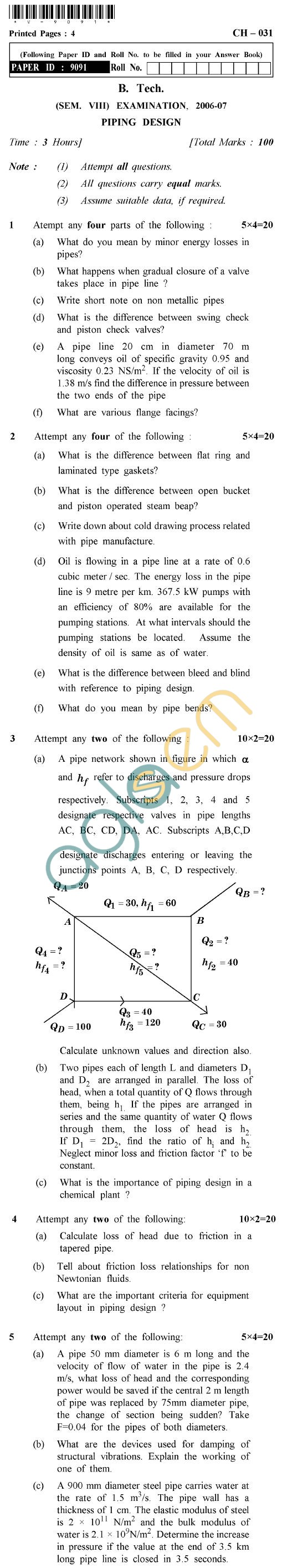 UPTU B.Tech Question Papers - CH-031 - Piping Design