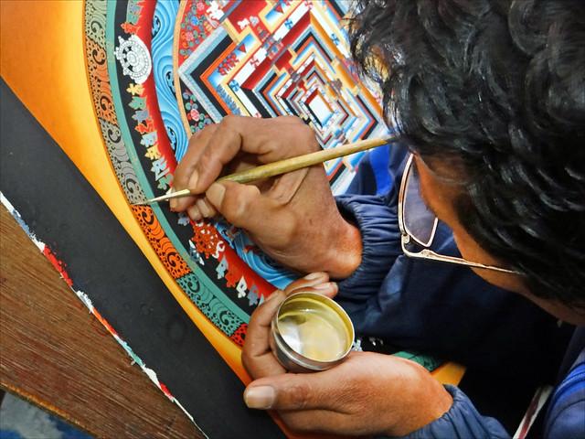 Peintre de Thanka (Bhaktapur, Népal)