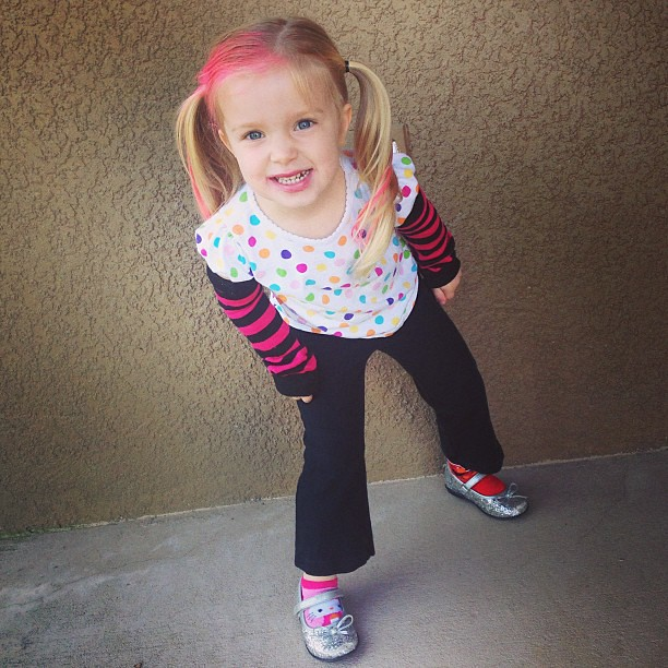 It's Wacky Wednesday! She loves her pink hair!