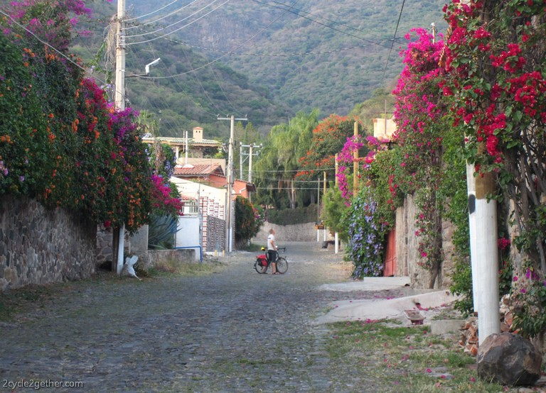 Kai surrounded by flowers, Ajijic