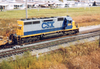 Southbound CSX Transportation Company intermodal transfer train.  Bridgeview Illinois. October 1998. by Eddie from Chicago