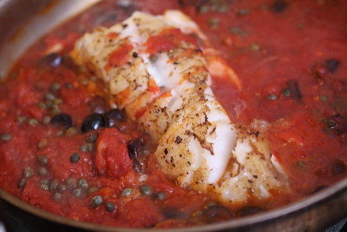 Pan Roasted Cod with Tomato, Kalamata Olives, and Capers