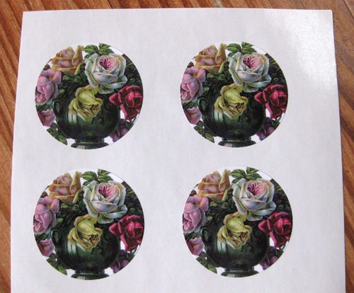 Old-fashioned vase of roses sticker set