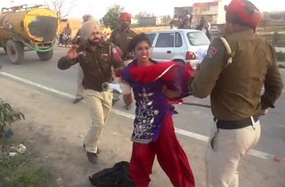 Young Woman beaten by Punjab Police