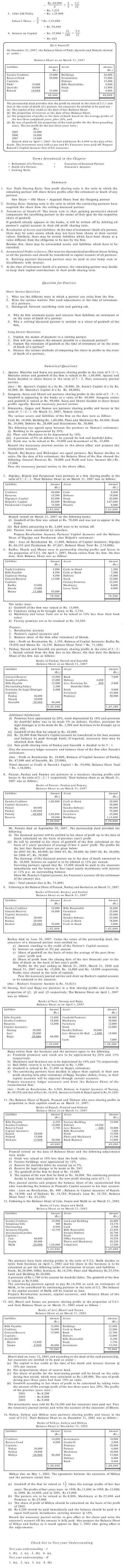 NCERT Class XII Accountancy I Chapter 4 - Reconstitution of Partnership Firm - Retirement/Death of a Partner