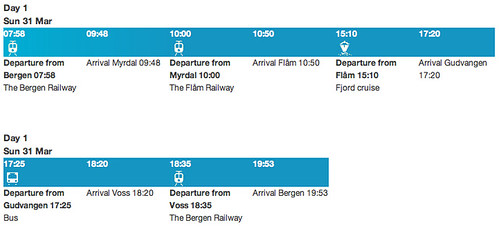 one way trip from bergen via myrdal_schedule