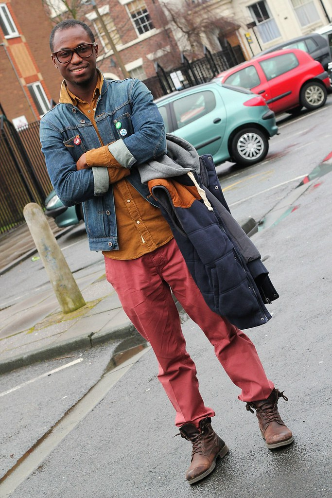 burgundy pants with a brown shirt, denim jacket, a vest jacket, boots