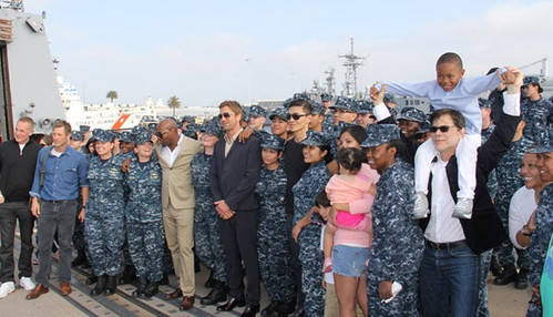 "Gridley crewmembers meet with the cast of the new movie ""Olympus Has Fallen."""