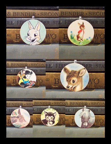 Wooden Vintage Illustration Animal Pendants