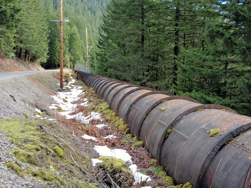 The pipe that used to divert all of the water from the Oak Grove Fork of the Clackamas River. The 70 to 100 cubic feet per second of new flow will greatly expand habitat for threatened fish, especially coho salmon and steelhead. (U.S Forest Service photo)