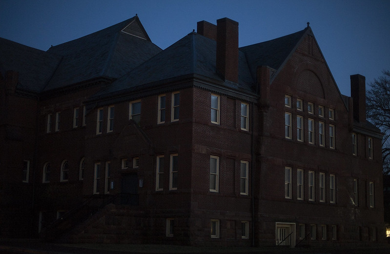 Alumni Hall at dusk.