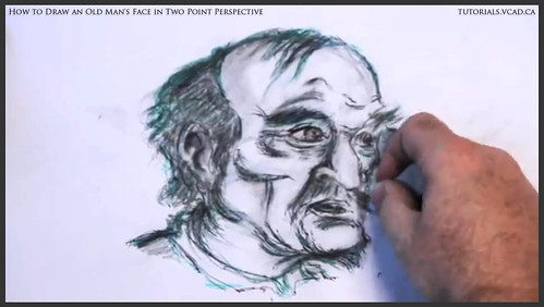 learn how to draw an old man's face in two point perspective 041