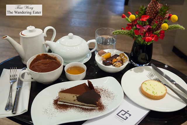 Our spread of pastries (basil lemon tart and chestnut chocolate cake) and hot beverages