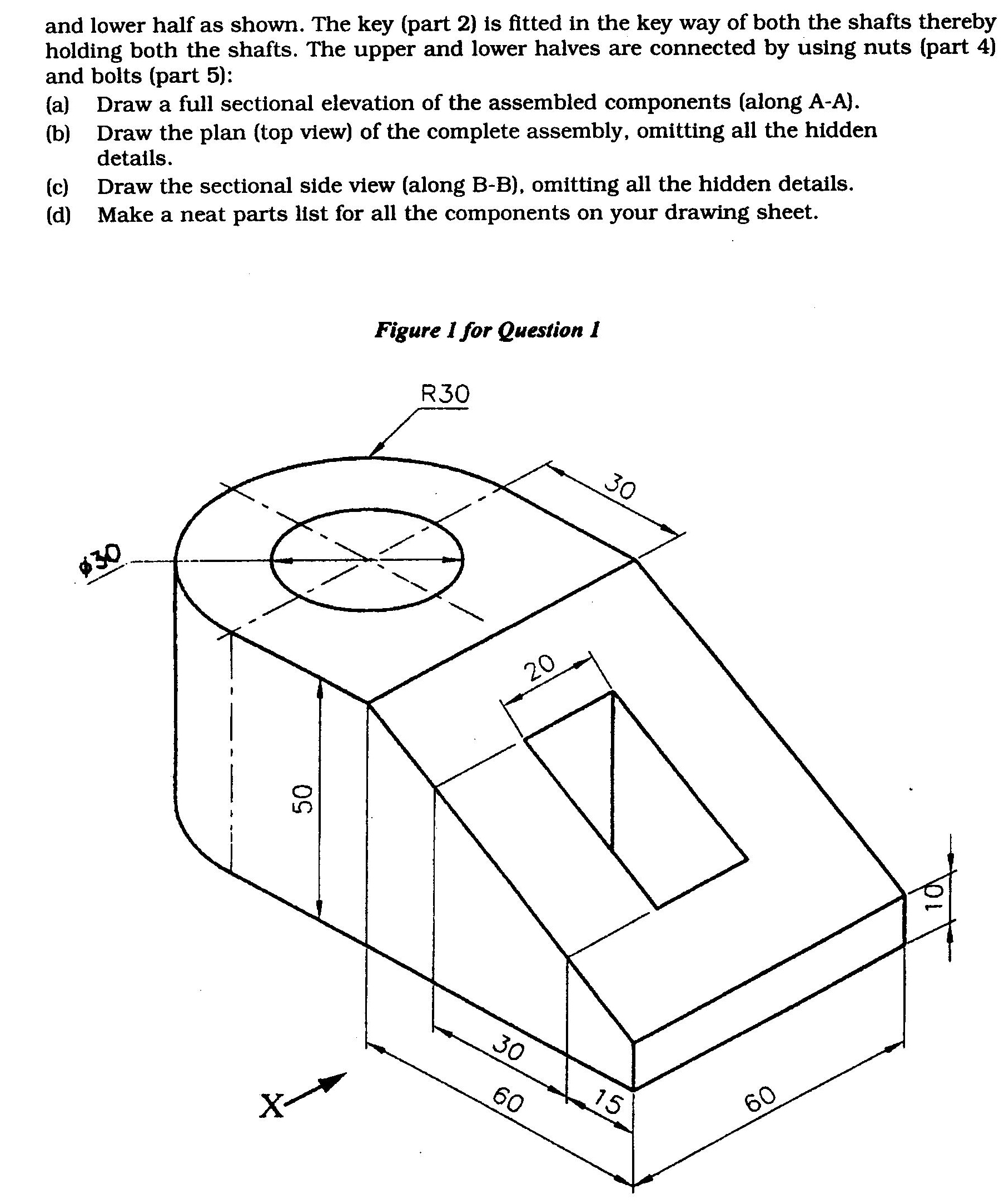 ISC Class XII Exam Question Papers 2012: Geometrical and Mechanical Drawing