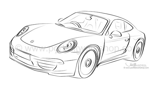 Porsche 911 artwork - line art (watermarked)