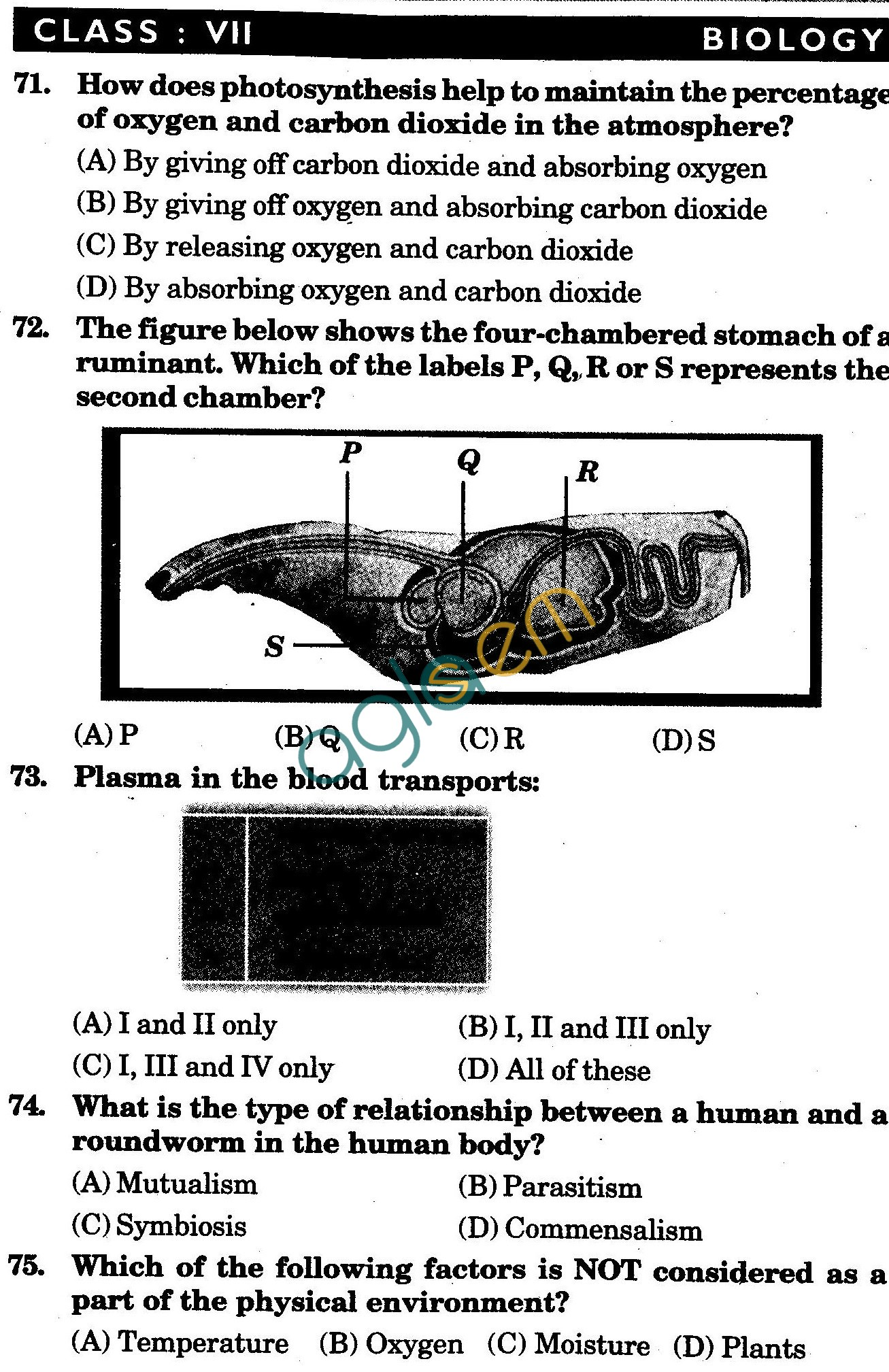 NSTSE 2009 Class VII Question Paper with Answers - Biology