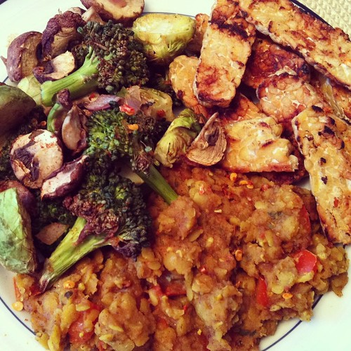 Cholar Dal, tempeh, and roasted veggies