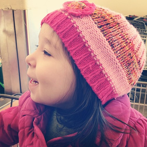 "Sweetest pea on a cold day. We're working on that whole ""keep your hat on"" thing."