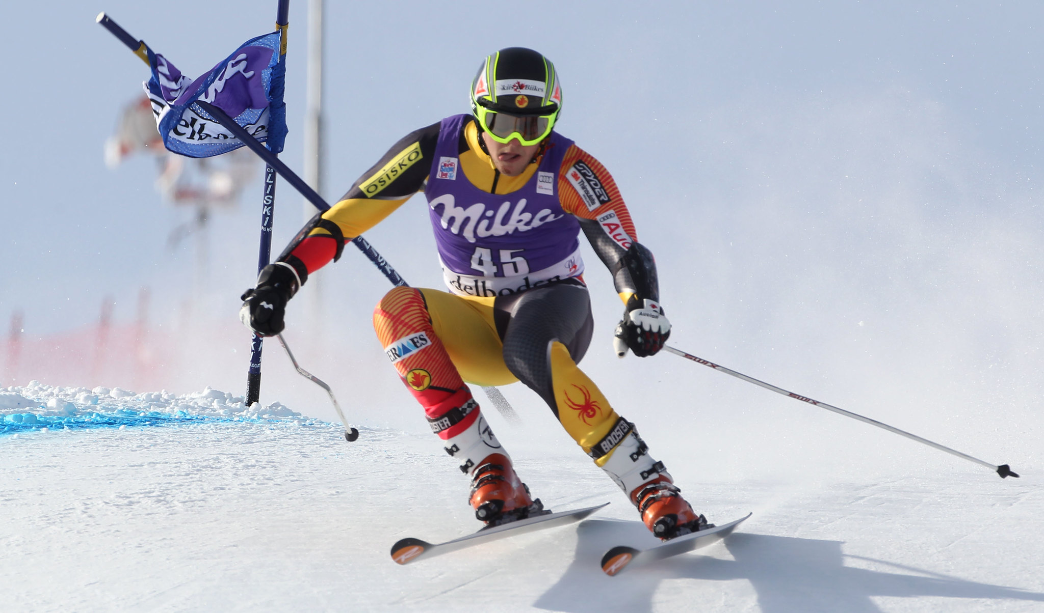 Philip Brown in the men's giant slalom in Adelboden, Switzerland.